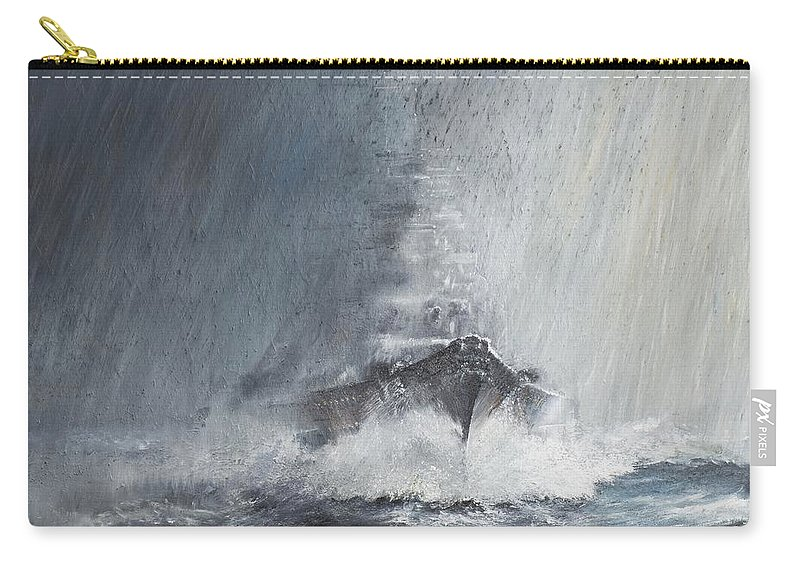 Bismarck Carry-all Pouch featuring the painting Bismarck Through Curtains Of Rain by Vincent Alexander Booth