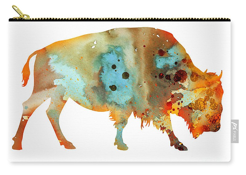 Bison Watercolor Print Carry-all Pouch featuring the painting Bison 5 by Watercolor Girl