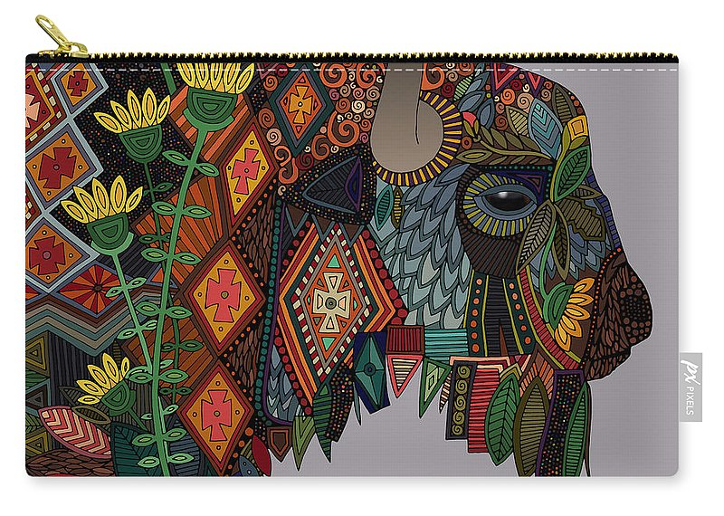 Bison Carry-all Pouch featuring the drawing Bison Heather by MGL Meiklejohn Graphics Licensing