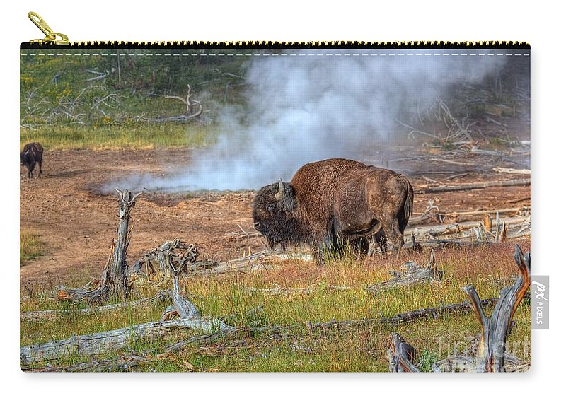 Bison Carry-all Pouch featuring the photograph Bison Mud by James Anderson
