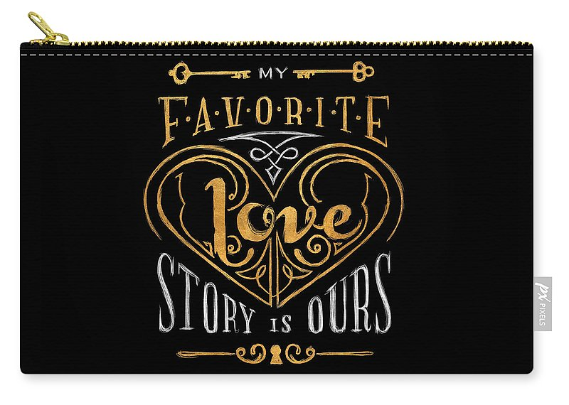 Black Carry-all Pouch featuring the digital art Black and Gold Love Story by South Social Studio