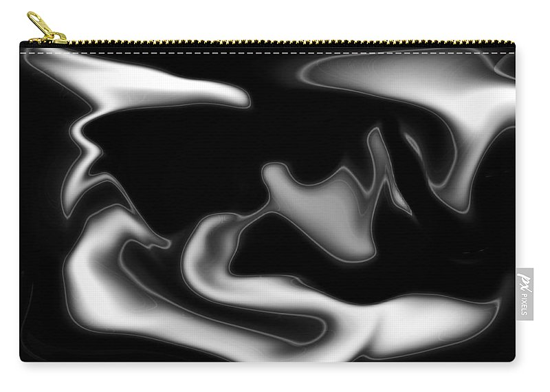 Art Carry-all Pouch featuring the digital art Black And White Abstract by David Pyatt