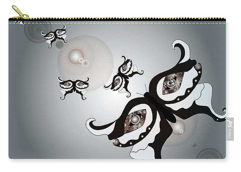 Butterfly Carry-all Pouch featuring the digital art Black And White Butterflyillustration by Teri Schuster