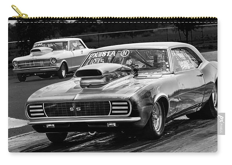 Chevy Carry-all Pouch featuring the photograph Black And White Chevy Camaro Ss Hotrod by Michael Moriarty
