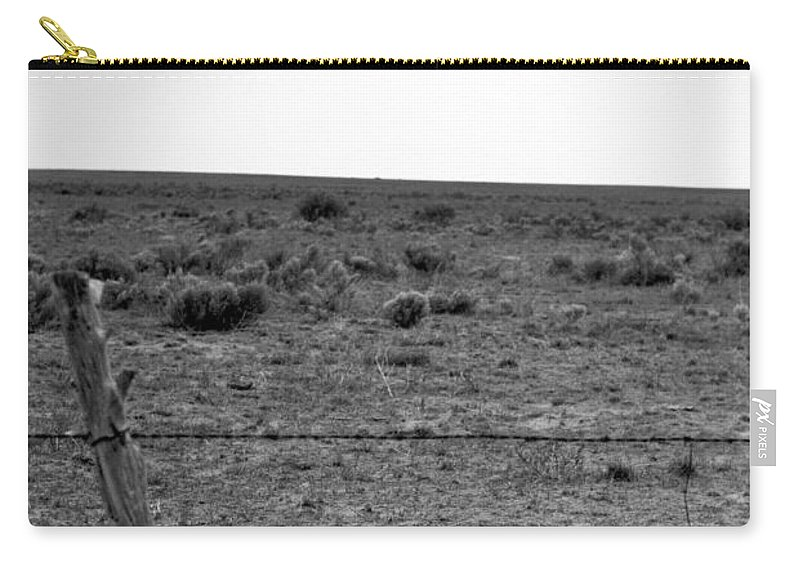 Landscape Carry-all Pouch featuring the photograph Black And White Fence by Pam Romjue