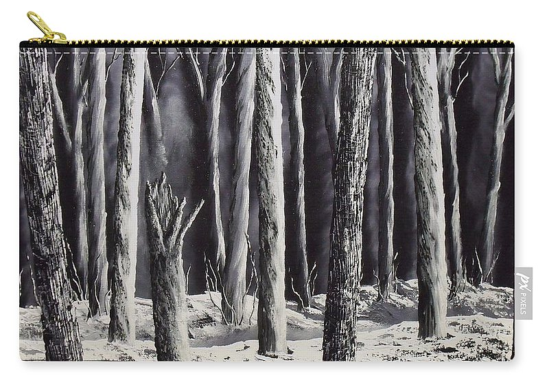 Landscape Carry-all Pouch featuring the painting Black And White Forest by Don Bowling