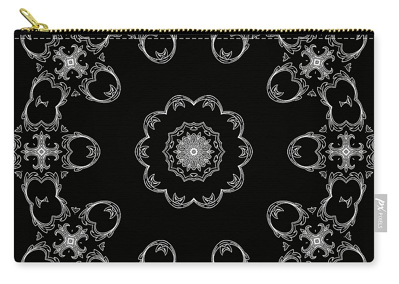 Intricate Carry-all Pouch featuring the mixed media Black And White Medallion 3 by Angelina Vick