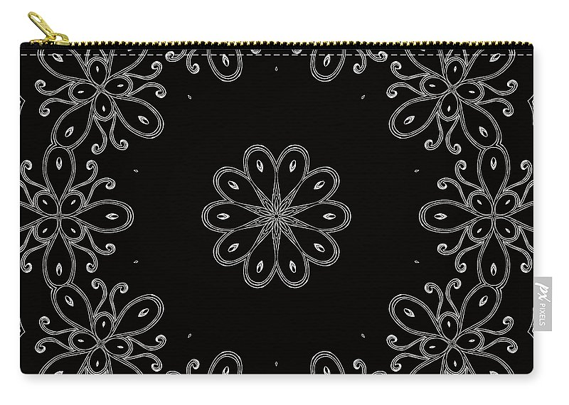 Intricate Carry-all Pouch featuring the mixed media Black And White Medallion 4 by Angelina Vick