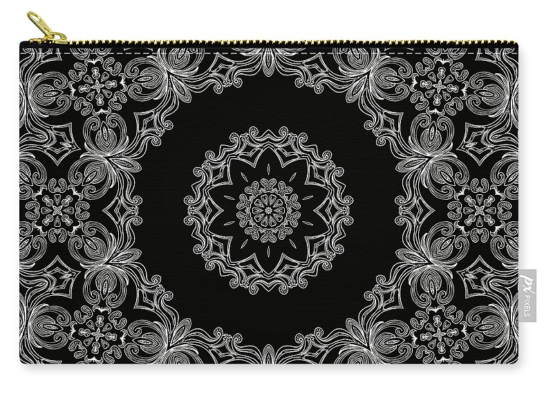 Intricate Carry-all Pouch featuring the mixed media Black And White Medallion 6 by Angelina Vick