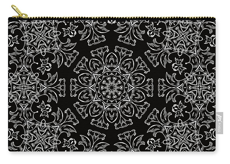 Intricate Carry-all Pouch featuring the mixed media Black And White Medallion 7 by Angelina Vick