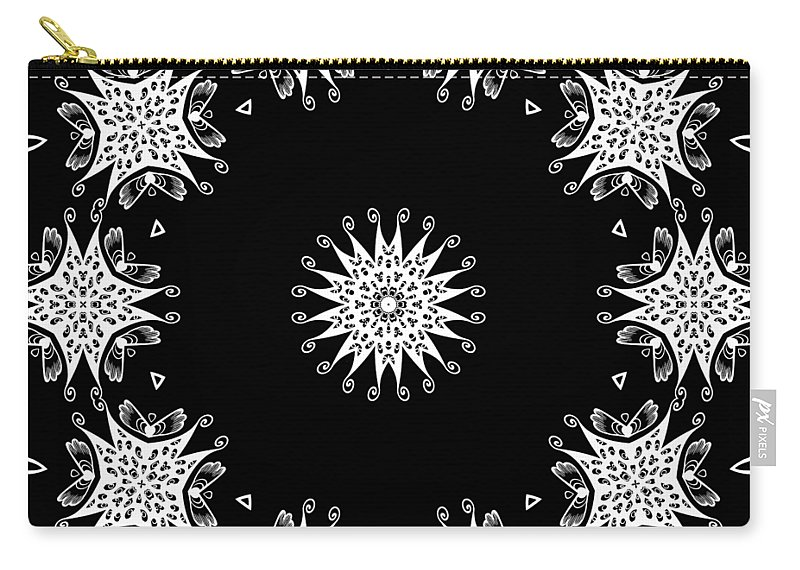 Intricate Carry-all Pouch featuring the mixed media Black And White Medallion 9 by Angelina Vick