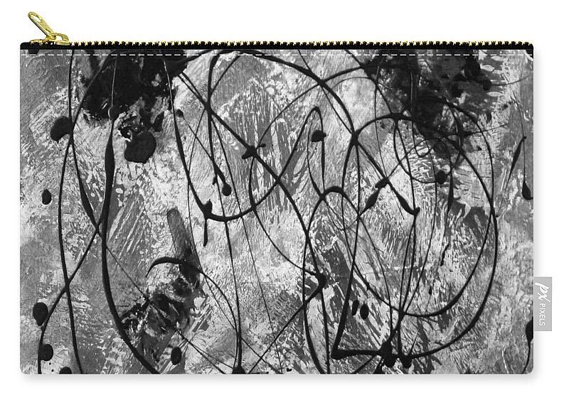 Black And White Abstract Painting Carry-all Pouch featuring the digital art Black And White by Nancy Merkle