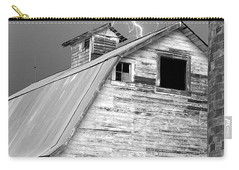 Lightning Carry-all Pouch featuring the photograph Black And White Old Barn Lightning Strikes by James BO Insogna