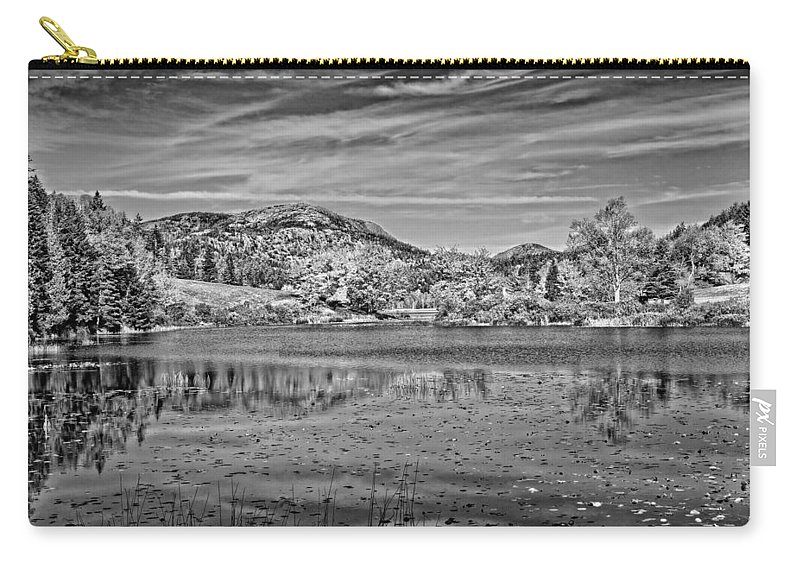 Maine Carry-all Pouch featuring the photograph Black And White Photo Of Long Pond Acadia National Park Maine by Keith Webber Jr