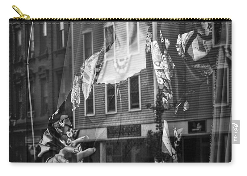 Art Carry-all Pouch featuring the photograph Black And White Photograph Of A Mannequin In Lingerie In Storefront Window Display by Randall Nyhof