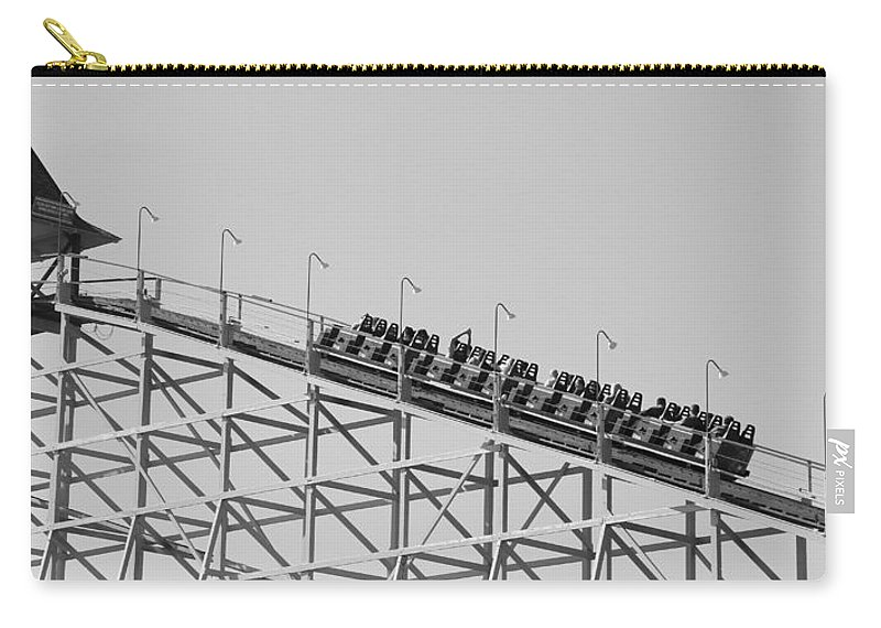 Black And White Roller Coaster Carry-all Pouch featuring the photograph Black And White Roller Coaster by Dan Sproul