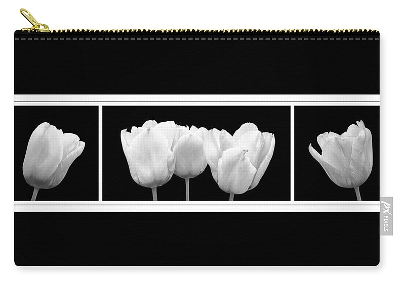 Black And White Flowers Carry-all Pouch featuring the photograph Black And White Tulip Triptych by Gill Billington