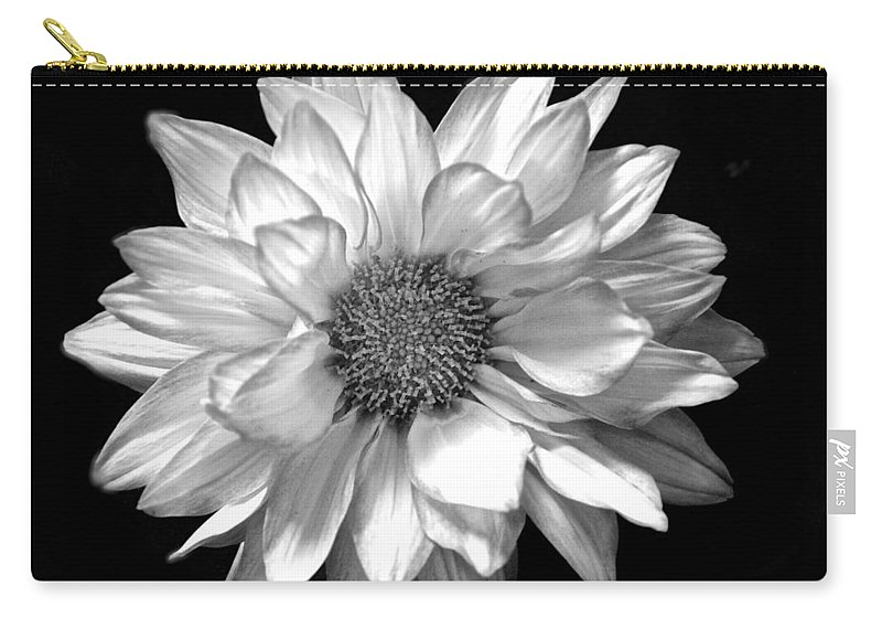 Black And White Flower Print Carry-all Pouch featuring the photograph Black And White Zennia by Kristina Deane