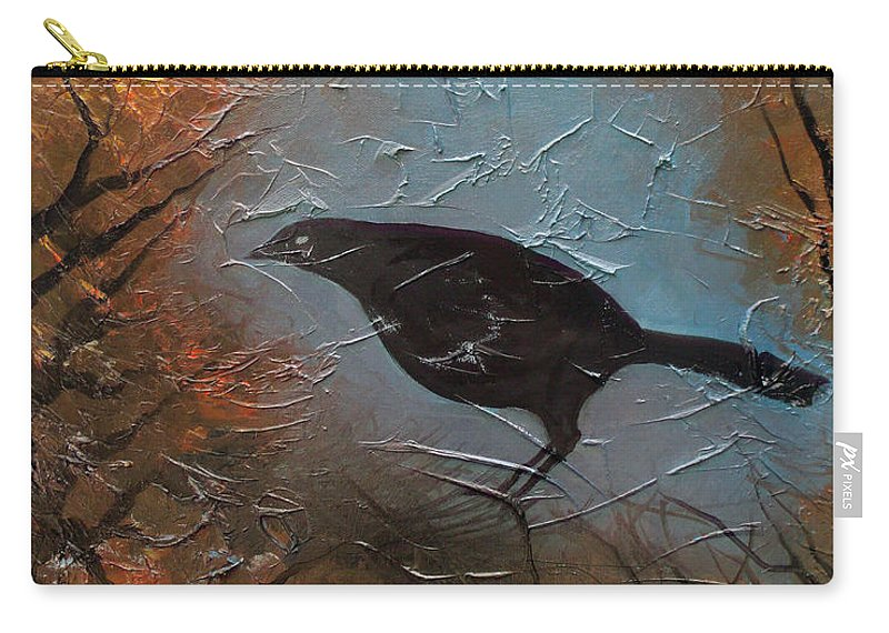 Landscape Carry-all Pouch featuring the painting Black Bird by Sergey Bezhinets