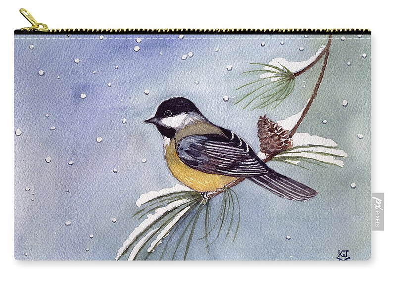 Black-capped Chickadee Carry-all Pouch featuring the painting Black-capped Chickadee by Katherine Miller