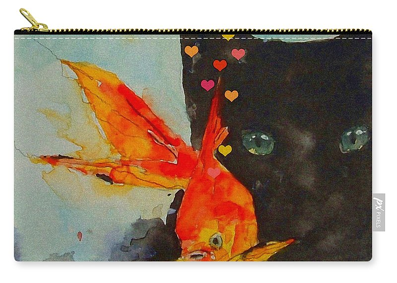 Black Cat Carry-all Pouch featuring the painting Black Cat and the Goldfish by Paul Lovering