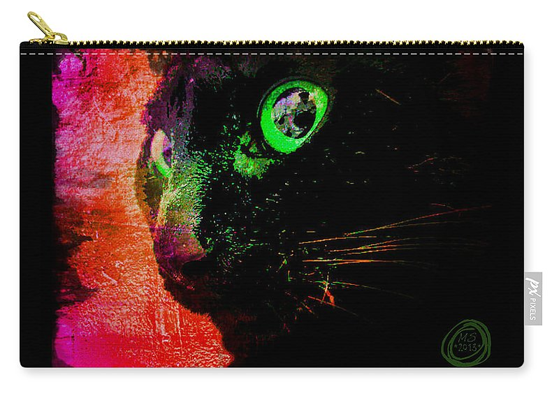 Black Cat Carry-all Pouch featuring the digital art Black Cat Neon by Absinthe Art By Michelle LeAnn Scott