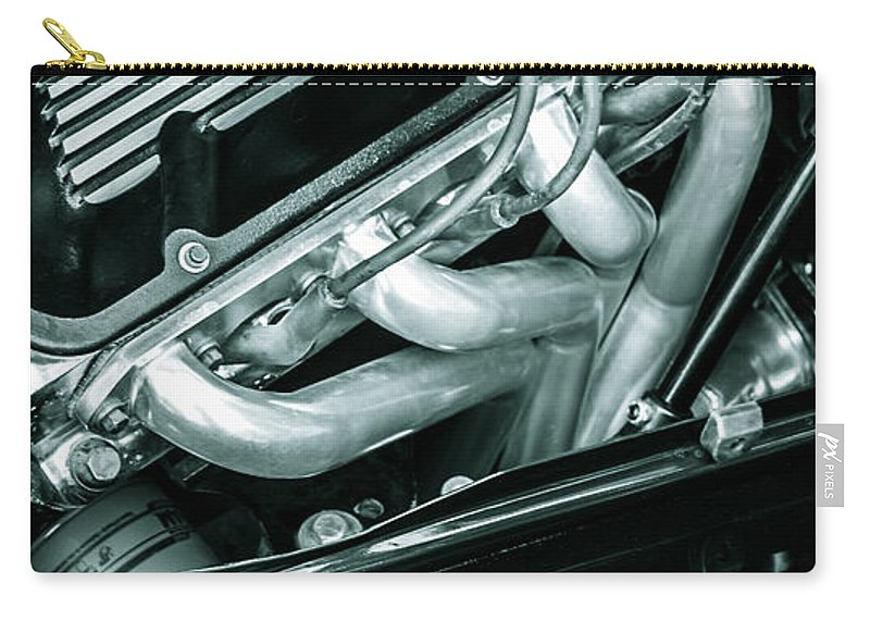 Chrome Carry-all Pouch featuring the photograph Black Cobra - Ford Cobra Engines by Steven Milner
