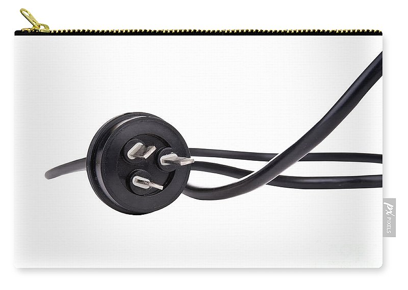 Cord Carry-all Pouch featuring the photograph Black Cord Plug by Tim Hester