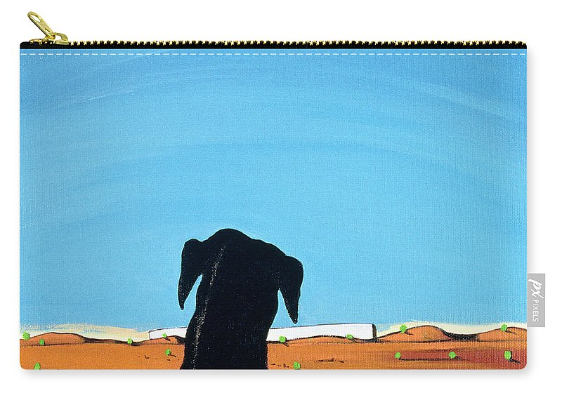 Landscape Carry-all Pouch featuring the painting Black Dog In Chestertown, 1998 by Marjorie Weiss