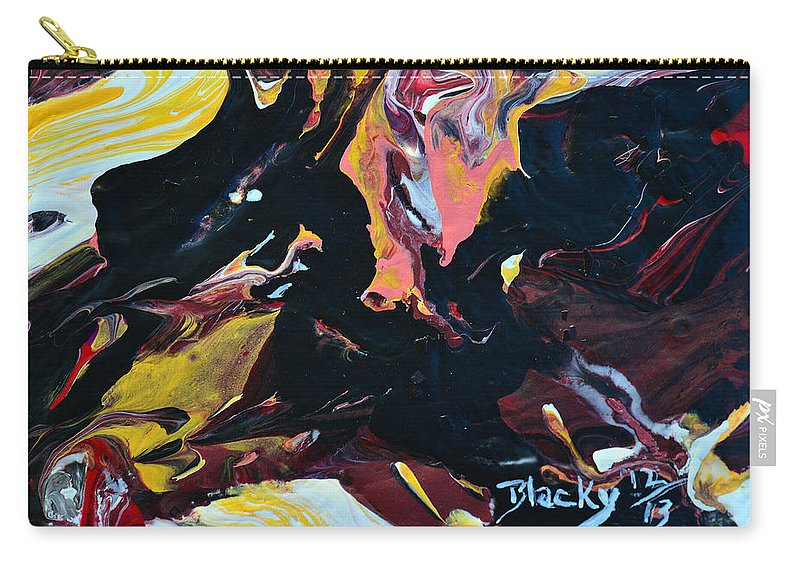 Dragon Carry-all Pouch featuring the painting Black Dragon by Donna Blackhall