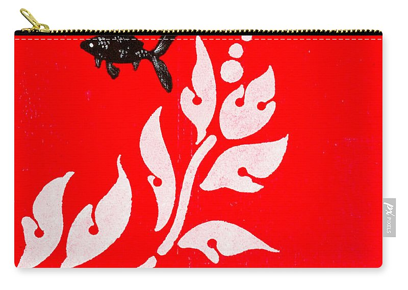 Carry-all Pouch featuring the painting Black Fish Left by Stefanie Forck