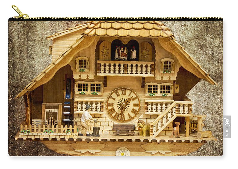 Heiko Carry-all Pouch featuring the photograph Black Forest Figurine Clock by Heiko Koehrer-Wagner