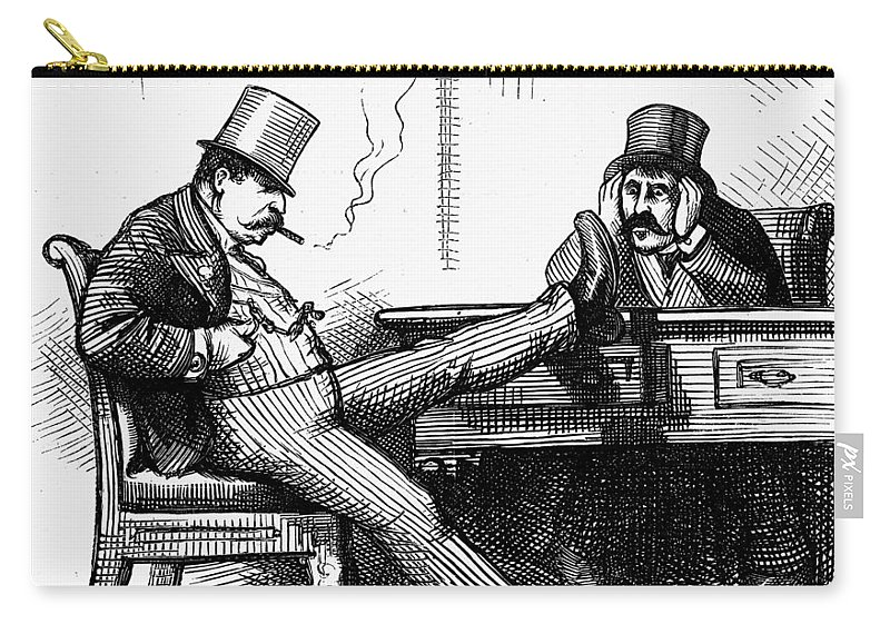 1873 Carry-all Pouch featuring the painting Black Friday Cartoon, 1873 by Granger