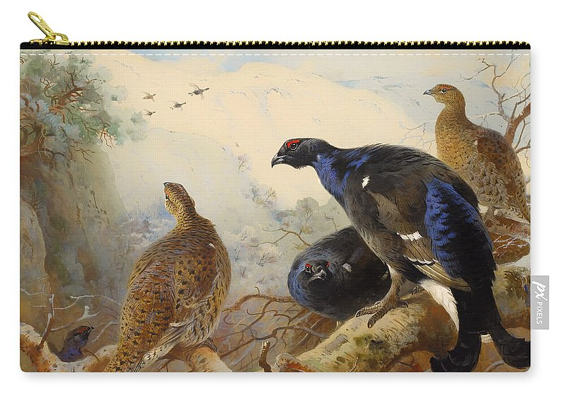Birds Carry-all Pouch featuring the painting Black Game by Mountain Dreams