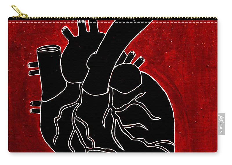 Carry-all Pouch featuring the painting Black Heart by Stefanie Forck