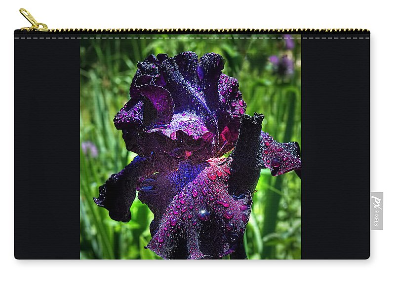 Iris Carry-all Pouch featuring the photograph Black Iris After The Rain by Linda Clifford