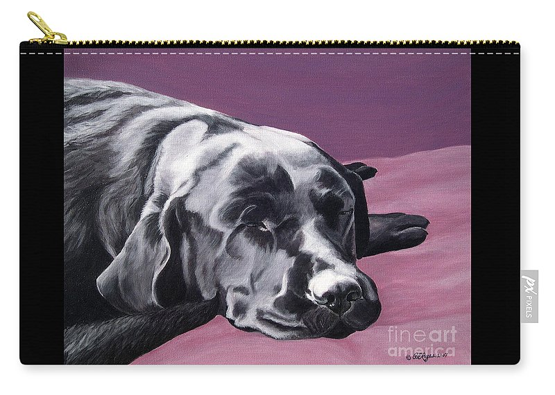 Dog Carry-all Pouch featuring the painting Black Labrador Beauty Sleep by Amy Reges