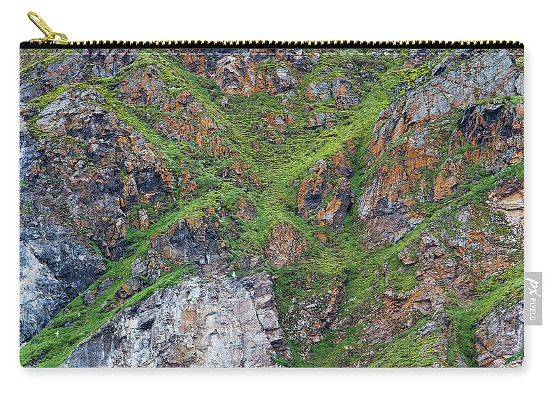 Grass Carry-all Pouch featuring the photograph Black Legged Kittiwake Cliffs In The by Anna Henly