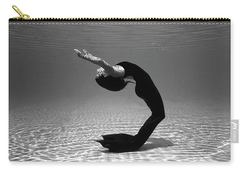 Underwater Carry-all Pouch featuring the photograph Black Mermaid by Microgen