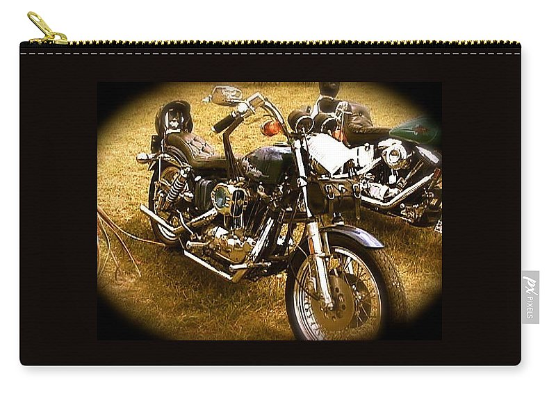 Black Motorcycle Carry-all Pouch featuring the photograph Black Motorcycle by Chris W Photography AKA Christian Wilson