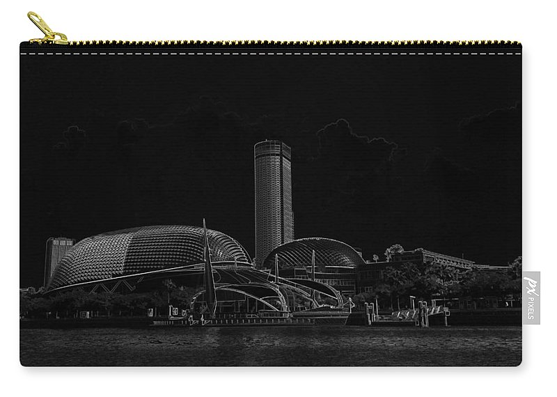 Action Carry-all Pouch featuring the digital art Black Pencil - A Tall Hotel The Swissotel Hotel In Singapore by Ashish Agarwal