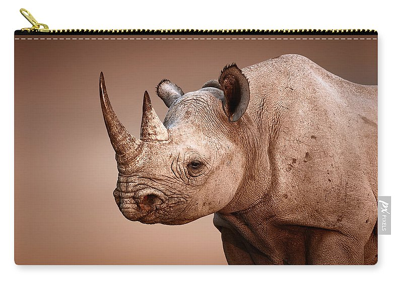 Rhinoceros Carry-all Pouch featuring the photograph Black Rhinoceros Portrait by Johan Swanepoel