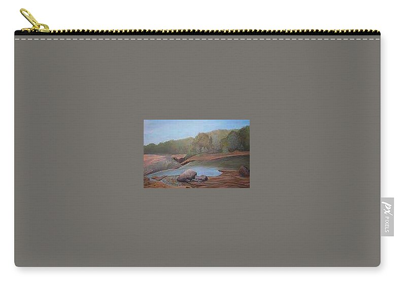 Rick Huotari Carry-all Pouch featuring the painting Black River Falls by Rick Huotari