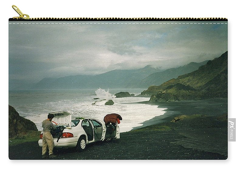 Spectacular Carry-all Pouch featuring the photograph Black Sands Beach by Susan Wyman