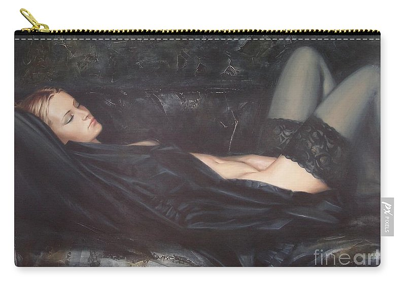 Ignatenko Carry-all Pouch featuring the painting Black Silk by Sergey Ignatenko
