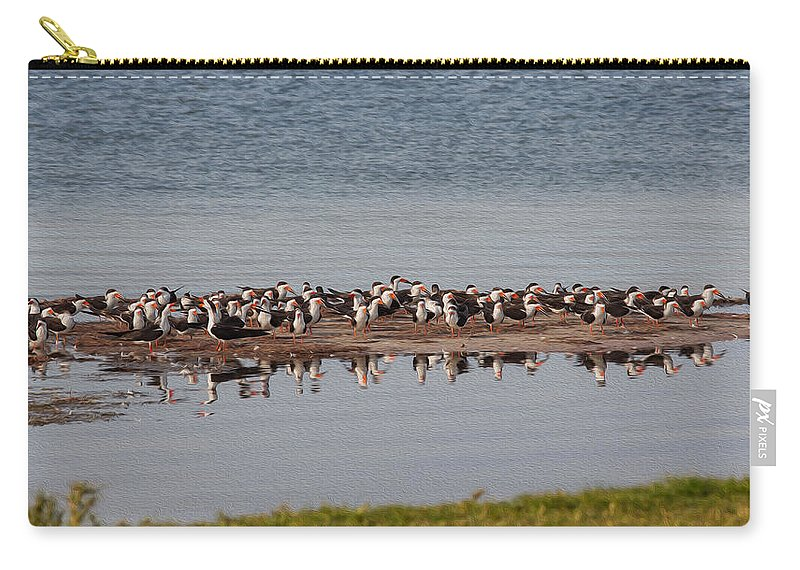 Animal Carry-all Pouch featuring the photograph Black Skimmer Convention by John M Bailey