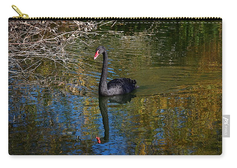 Black Carry-all Pouch featuring the photograph Black Swan 4 by Leticia Latocki