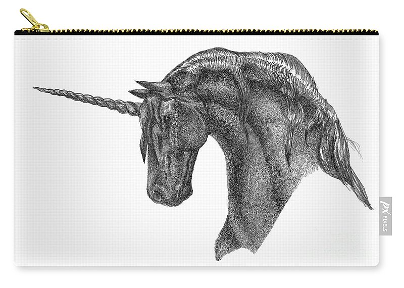 Unicorn Carry-all Pouch featuring the drawing Black Unicorn by J M Lister