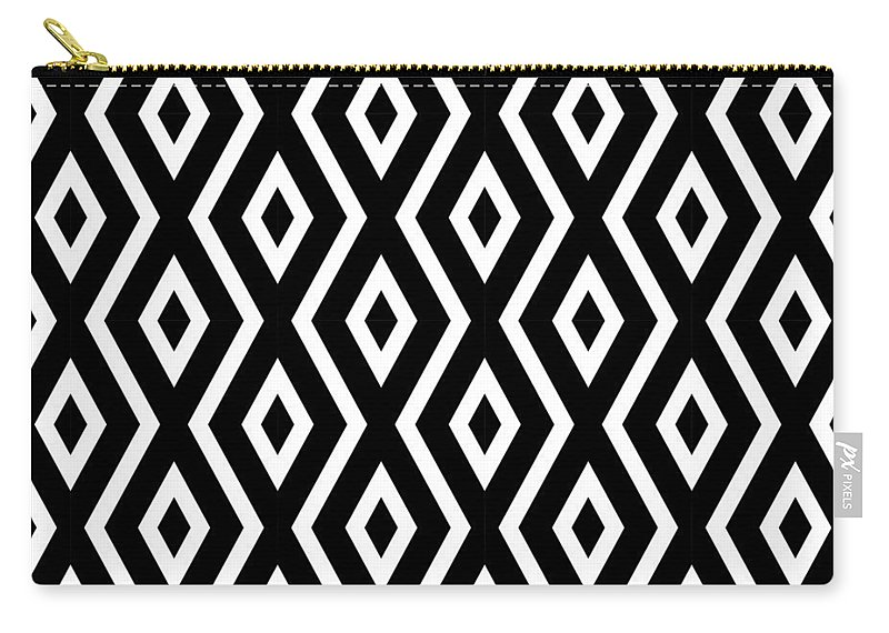 Black And White Carry-all Pouch featuring the mixed media Black and White Pattern by Christina Rollo