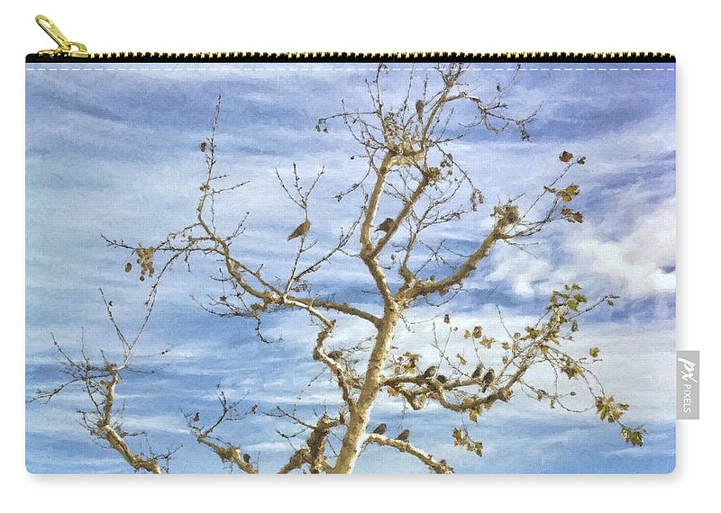 Blackbird Carry-all Pouch featuring the painting Blackbirds In A Tree by Angela Stanton